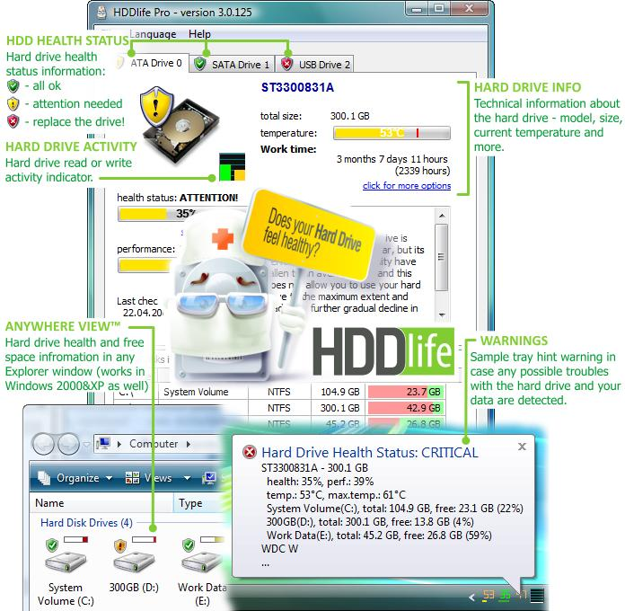 HDDlife Pro is a hard drive monitor that gives users warning disk failure. Screen Shot